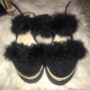 Boohoo fur wedge 3 in heel UK size 7